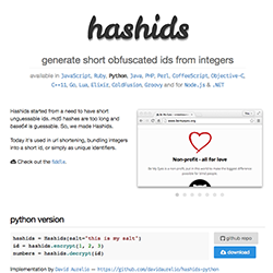 Hashids - generate short unique ids from integers